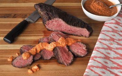 Grilled or Roasted Wagyu Tri Tip with Romesco Sauce