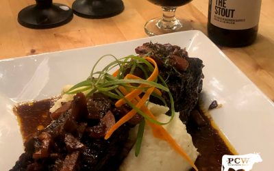 Plate with wine and stout wagyu beef recipe